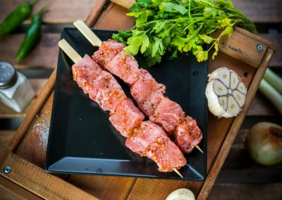 Marinated pork skewers